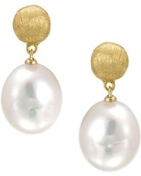 """Marco Bicego - """"africa Pearl Collection"""" 18k Yellow Gold And Pearl Drop Earrings - Lyst"""