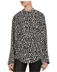 7129cf8e04 The Kooples Handcuff Print Silk Crepe De Chine Shirt in Black - Lyst
