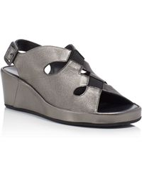 Thierry Rabotin | Talia Metallic Slingback Wedge Sandals | Lyst