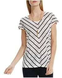 Two By Vince Camuto - Pointelle Jacquard Chevron Stripe Top - Lyst