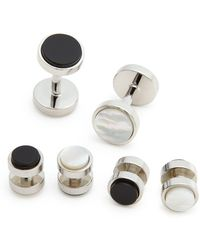 Bloomingdale's - Polished Rhodium Reversible Stud And Cufflink Set - Lyst