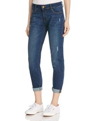 Warp & Weft | Lax Girlfriend Jeans In Dark Distressed | Lyst
