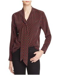 Equipment - Slim Signature Heart-print Tie-neck Shirt - Lyst