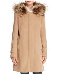 Basler - Fur Trimmed Zip Coat - Lyst