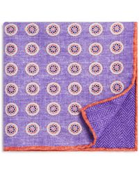 Bloomingdale's - Circle Medallion/herringbone Pocket Square - Lyst