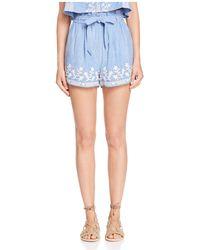 Tularosa - Kaya Embroidered Tie-waist Shorts - Lyst