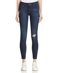 Warp & Weft - Nyc Skinny Jeans In Dark Distress - Lyst