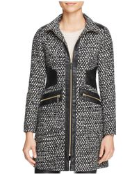 Via Spiga - Popcorn Stitch Faux Leather-trim Coat - Lyst