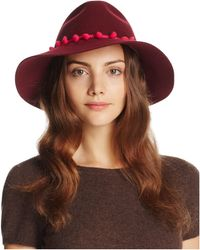 August Accessories - It Girl Wool Fedora With Pom-pom Trim - Lyst