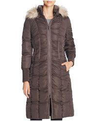 T Tahari - Elizabeth Faux Fur-trim Long Puffer Coat - Lyst