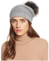 Bettina - Rice Stitch Slouchy Hat With Asiatic Raccoon Fur Pom-pom - Lyst
