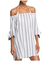 Lucky Brand - Stripe Off-the-shoulder Dress Swim Cover-up - Lyst