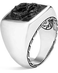 John Hardy - Sterling Silver Legends Naga Signet Ring With Black Onyx - Lyst