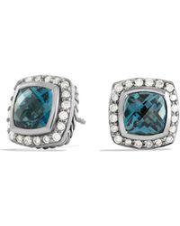 David Yurman - Petite Albion Earrings With Hampton Blue Topaz & Diamonds - Lyst