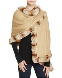 Badgley Mischka - Faux Fur Trim Wrap - Lyst