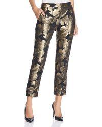 Donna Karan - New York Metallic Floral Jacquard Crop Pants - Lyst