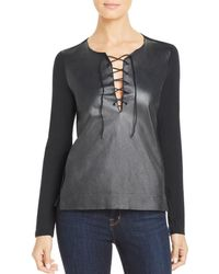 Majestic Filatures - Leather-front Lace-up Tee - Lyst