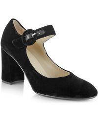 Hobbs - Aurora Velvet Mary Jane Block Heel Pumps - Lyst