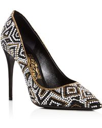 Ferragamo - Fiore Embellished Pointed Toe Pumps - Lyst
