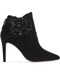 Reiss - Peyton Lasercut Pointed Toe Booties - Lyst