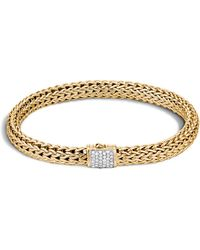 John Hardy - Classic Chain 18k Gold And Diamond Pave Small Bracelet - Lyst