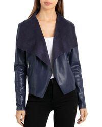 Bagatelle - Draped Faux Leather Jacket - Lyst