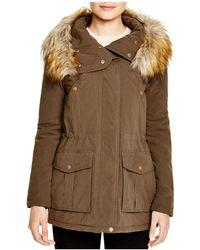 DKNY - Faux Fur Trim Hooded Anorak - Lyst