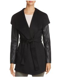 Laundry by Shelli Segal - Contrast Sleeve Wrap Coat - Lyst
