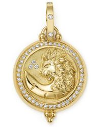 Temple St. Clair - 18k Yellow Gold Diamond Lion Coin Pendant - Lyst