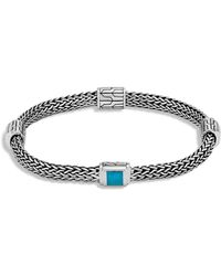 John Hardy - Classic Chain Sterling Silver & Turquoise Four-station Bracelet - Lyst