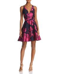 Aqua - Floral Brocade Dress - Lyst