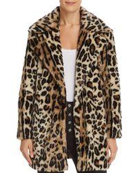 FRAME - Leopard Print Faux Fur Coat - Lyst