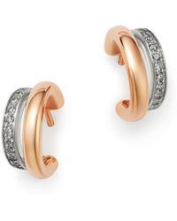 Pomellato - 18k Rose Gold Iconica Diamond Double Huggie Earrings - Lyst