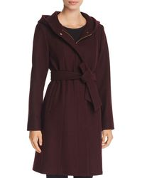 Vince Camuto - Hooded Belted Wrap Coat - Lyst