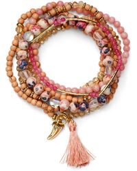 Aqua - Beaded Tonal Blush Bracelets - Lyst