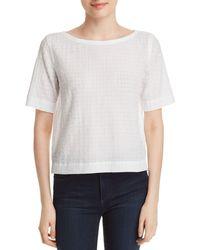 Eileen Fisher - Boatneck Grid-knit Top - Lyst