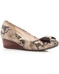 Cole Haan - Women's Tali Snake-embossed Leather Demi-wedge Pumps - Lyst