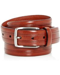 Trafalgar - Allister Topstitch Leather Belt - Lyst