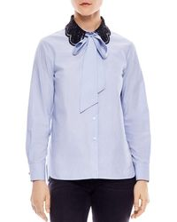 Sandro - Carillon Lace-collar Striped Shirt - Lyst