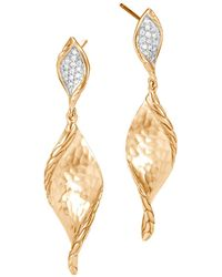 a10fa8690 John Hardy - Classic Chain Hammered Gold Drop Earrings With Diamonds - Lyst