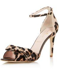Kate Spade - Women's Ismay Leopard Print Calf Hair High-heel Bow Sandals - Lyst