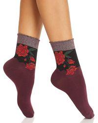 Hue - Metallic Rose Shortie Socks - Lyst