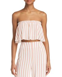 Sage the Label - Aurelia Striped Strapless Cropped Top - Lyst