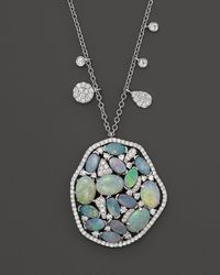 Meira T - 14k White Gold Mosaic Opal Pendant Necklace - Lyst