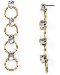Aqua - Four Ring Crystal Drop Earrings - Lyst