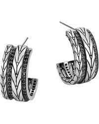 John Hardy | Sterling Silver Modern Chain Small Hoop Earrings With Black Sapphire | Lyst