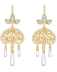 Temple St. Clair - 18k Yellow Gold Perse Moon Diamond & Royal Blue Moonstone Drop Earrings - Lyst