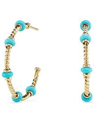 David Yurman - Rio Rondelle Large Hoop Earrings With Turquoise & 18k Gold - Lyst