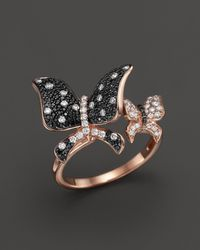 Bloomingdale's - Black And White Diamond Butterfly Statement Ring In 14k Rose Gold - Lyst