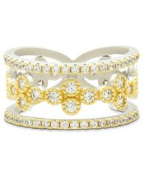 Freida Rothman - Fleur Bloom Tiered Clover Ring In 14k Gold - Plated & Rhodium - Plated Sterling Silver - Lyst